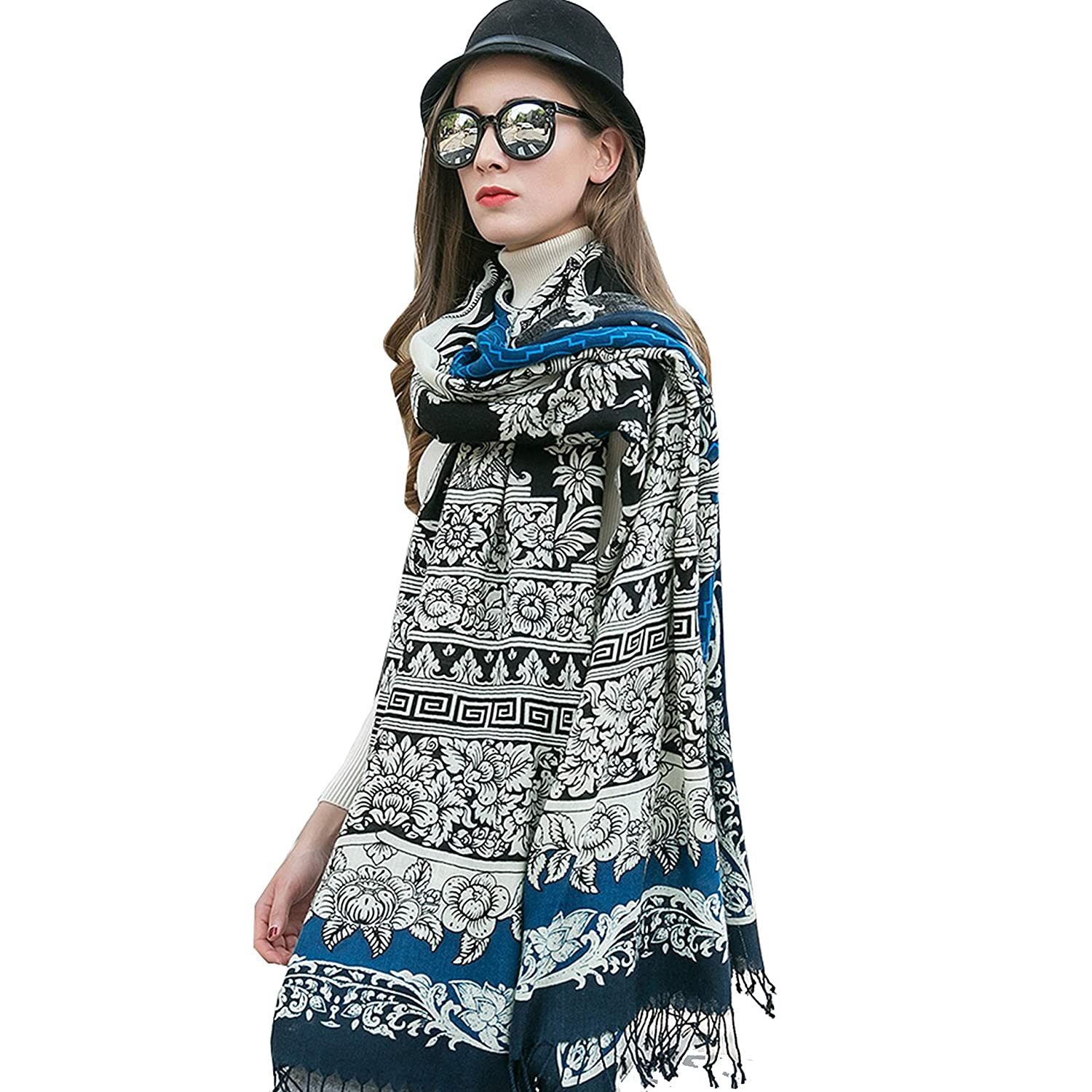 bluee DANA XU Pure Wool Ponchos Blanket for Women Large Pashmina Shawls and Wraps (bluee&White)
