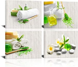 KLVOS Spa Canvas Wall Art Zen Massage Treatment Wall Decor Fashion White Flower Stone Green Sand Pictures Painting for Modern Bathroom Living Room Beauty Salon Home Decor Ready to Hang 12x16inchx4 PCS