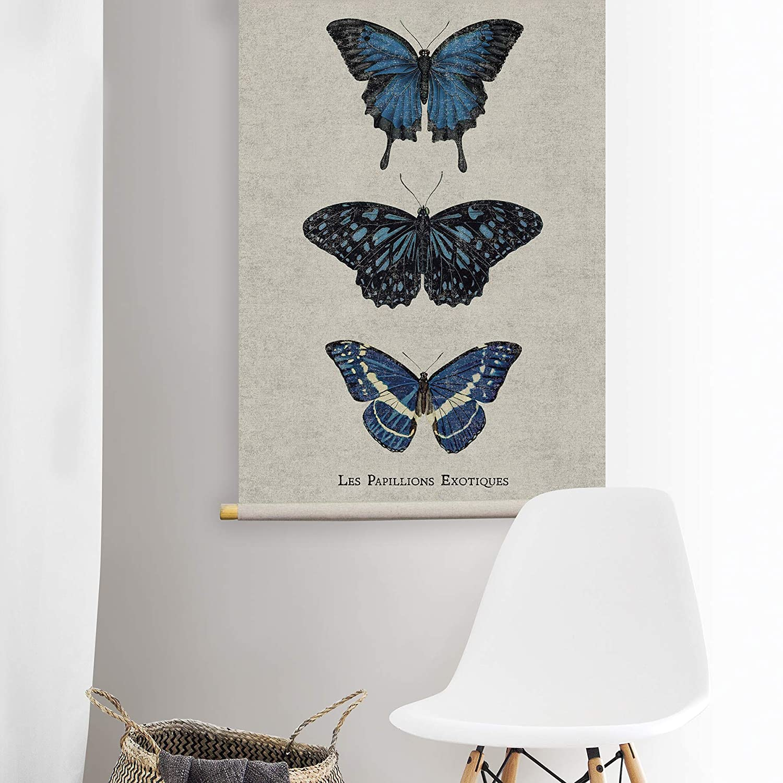 Habitat Les Papillions Linen Hanging Tapestry Blue