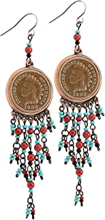 product image for American Coin Treasures Coppertone Indian Head Cent Chandelier Earrings