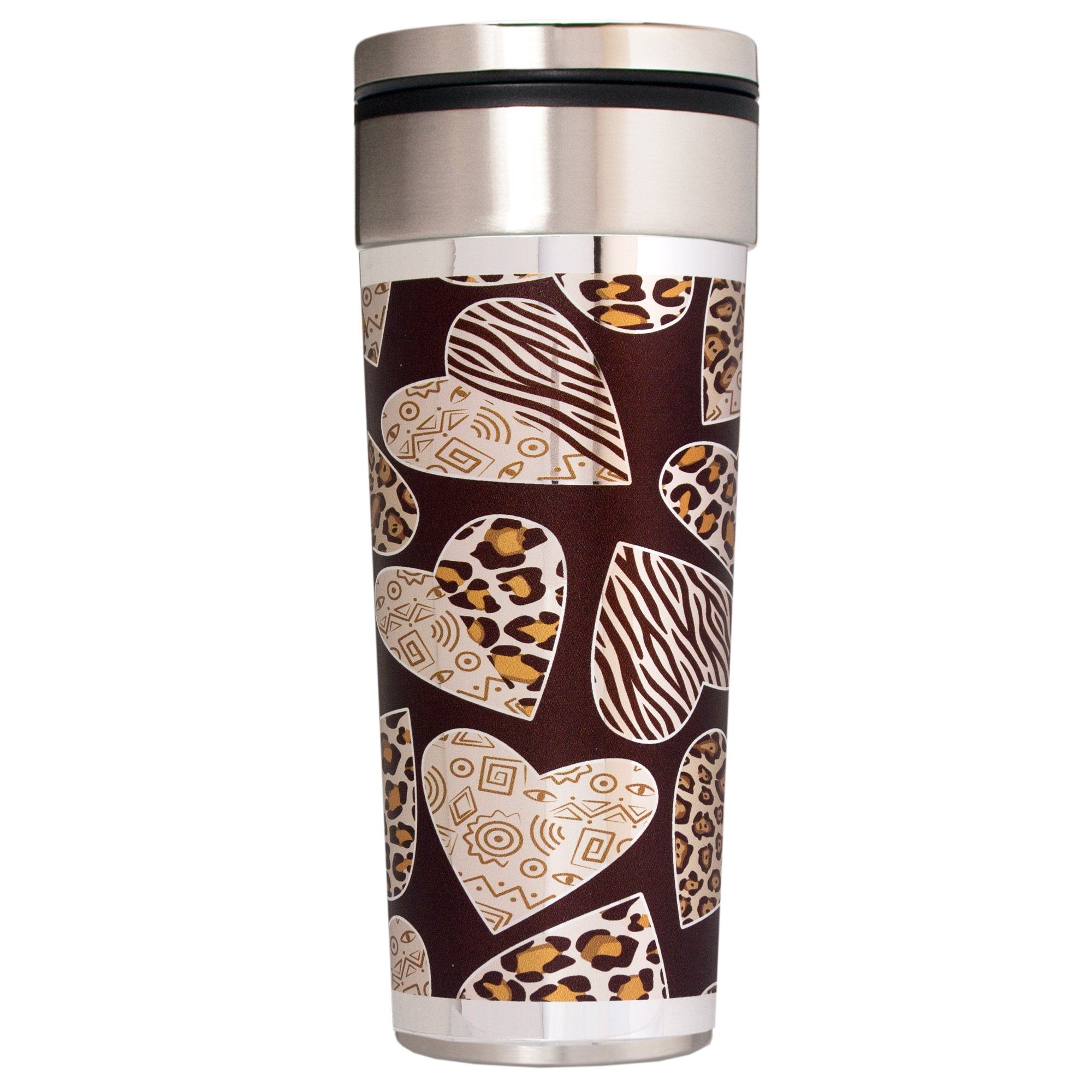 Great American Products Animal Print Hearts Travel Tumbler, 22-Ounce, Black/Silver