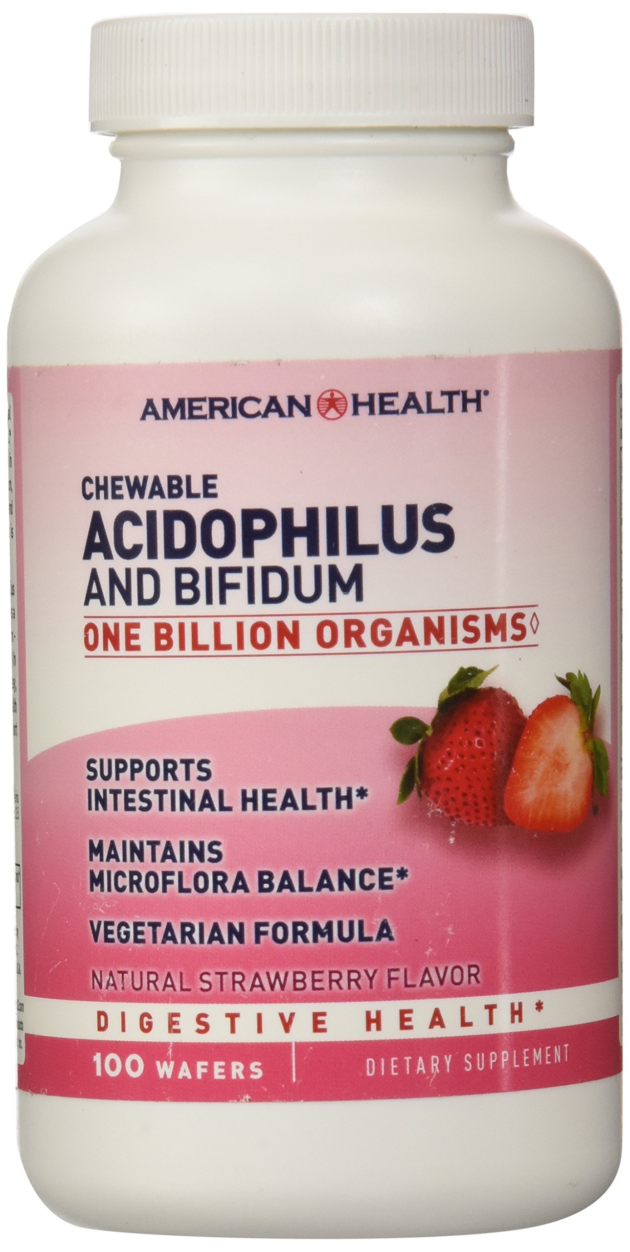 American Health Acidophilus and Bifidum Chewable Strawberry 100 Wafers