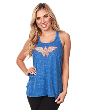 Devious Apparel  Wonder Woman  Flowy Women s Tank Top - Heather Blue  Glitter Polyester Blend d4838ae3b