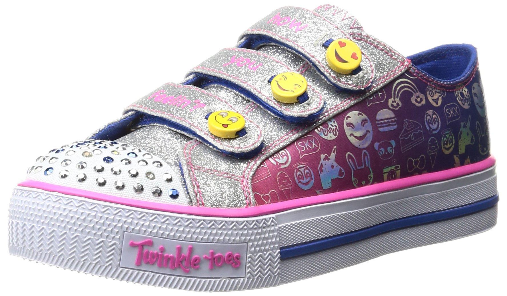 Skechers Big Kid (8-12 Years) Twinkle Toes: Chit Chat-Prolifics Blue-pink Light-Up Sneaker - 4 Big Kid M