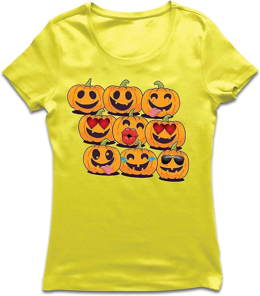lepni.me Camiseta Mujer Calabaza Emoji Divertido Disfraz de Fiesta ...