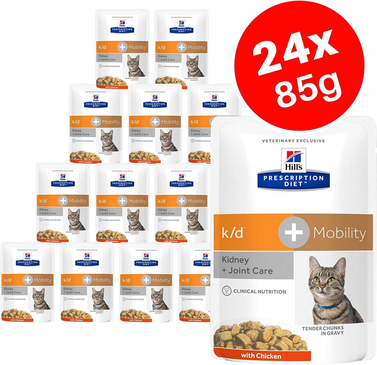 Hills Prescription Diet k/d + Movilidad Adulto Gato Alimento con Pollo, Kidney + Cuidado de Juntas 12 x 85 g (Pack de 2)