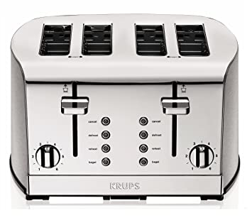 Amazon KRUPS KH734D Breakfast Set 4 Slot Toaster with Brushed
