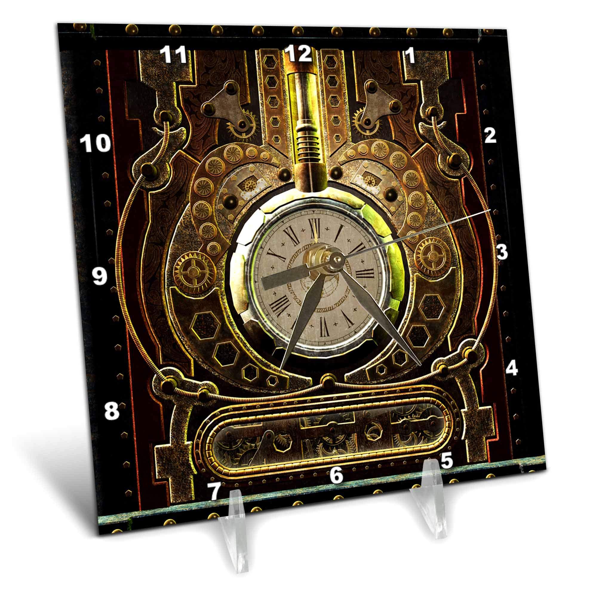 3dRose Heike Köhnen Design Steampunk - Amazing clockwork steampunk design - 6x6 Desk Clock (dc_287322_1)