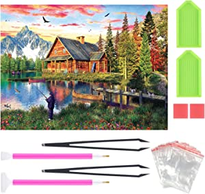 5D Diamond Painting by Number Kit for Adult Kids, Full Drill Embroidery Kit Home Wall Decor Fishing Cabin 12x16Inch