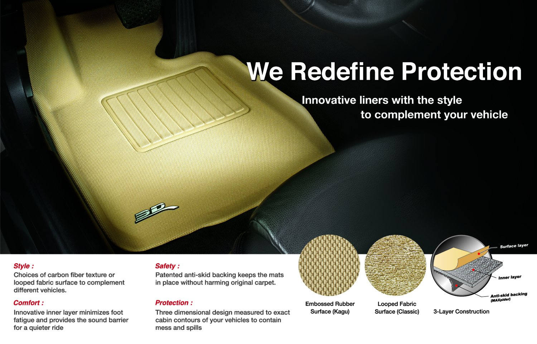 3D MAXpider Front Row Custom Fit All-Weather Floor Mat for Select Mazda MX-5 Models Tan Kagu Rubber L1MZ05511502