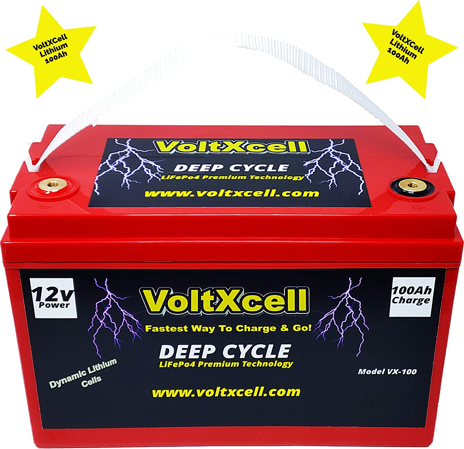 Voltxcell Lithium Battery 100ah 12v Solar Wind 12 Volt LifePo4 BMS Included Off Grid for Storage Rv Home Car Audio Power Fast Charging