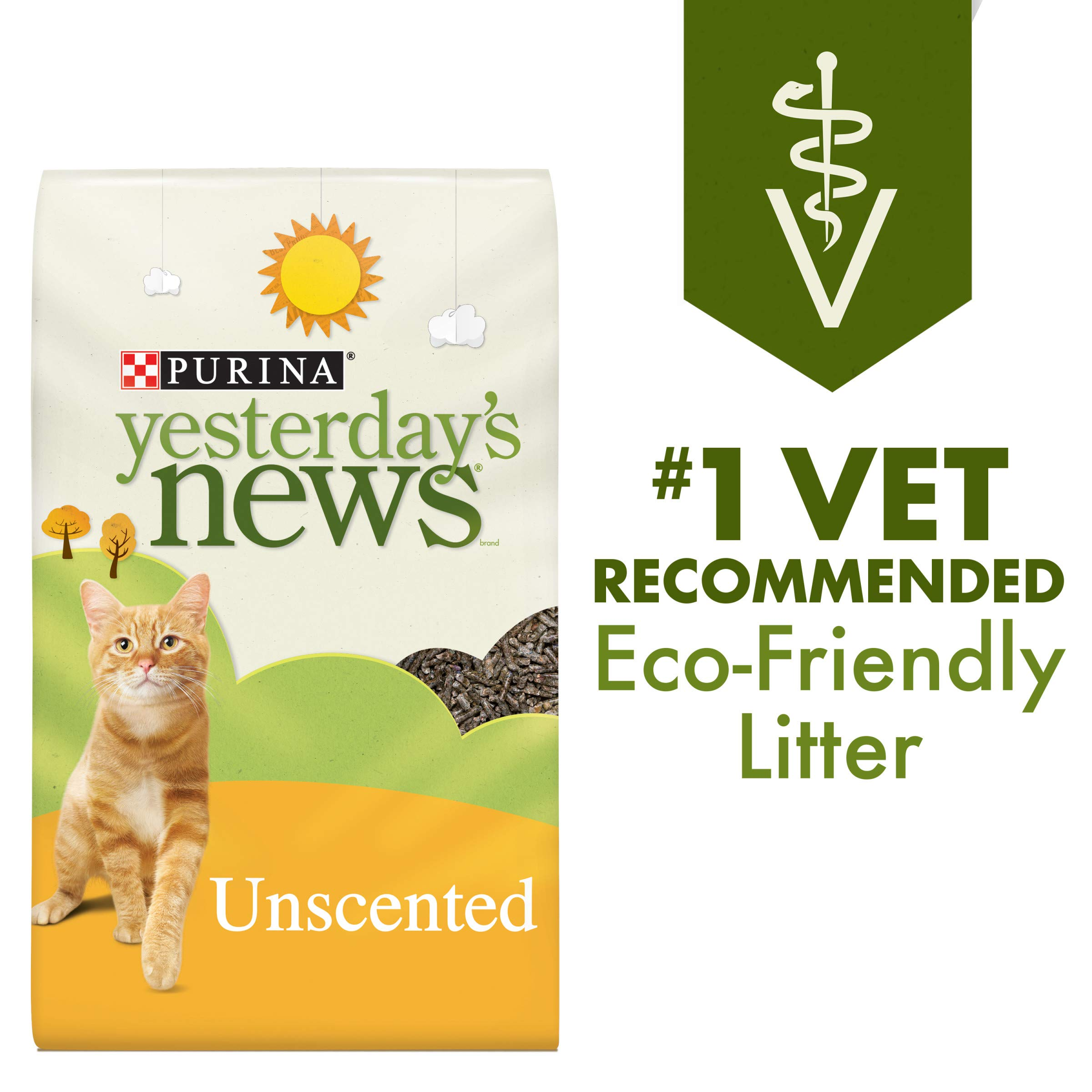 Purina Yesterday's News Non Clumping Paper Cat Litter, Unscented Low Tracking Cat Litter - 30 lb. Bag by Purina Yesterday's News