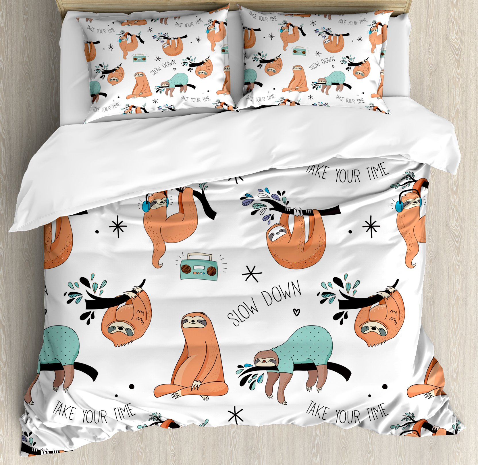 Sloth Queen Size Duvet Cover Set by Ambesonne, Pattern with Cute Hand Drawn Sloths on Branches Laziness Mood Quotes Fun, Decorative 3 Piece Bedding Set with 2 Pillow Shams, Orange Light Blue Black