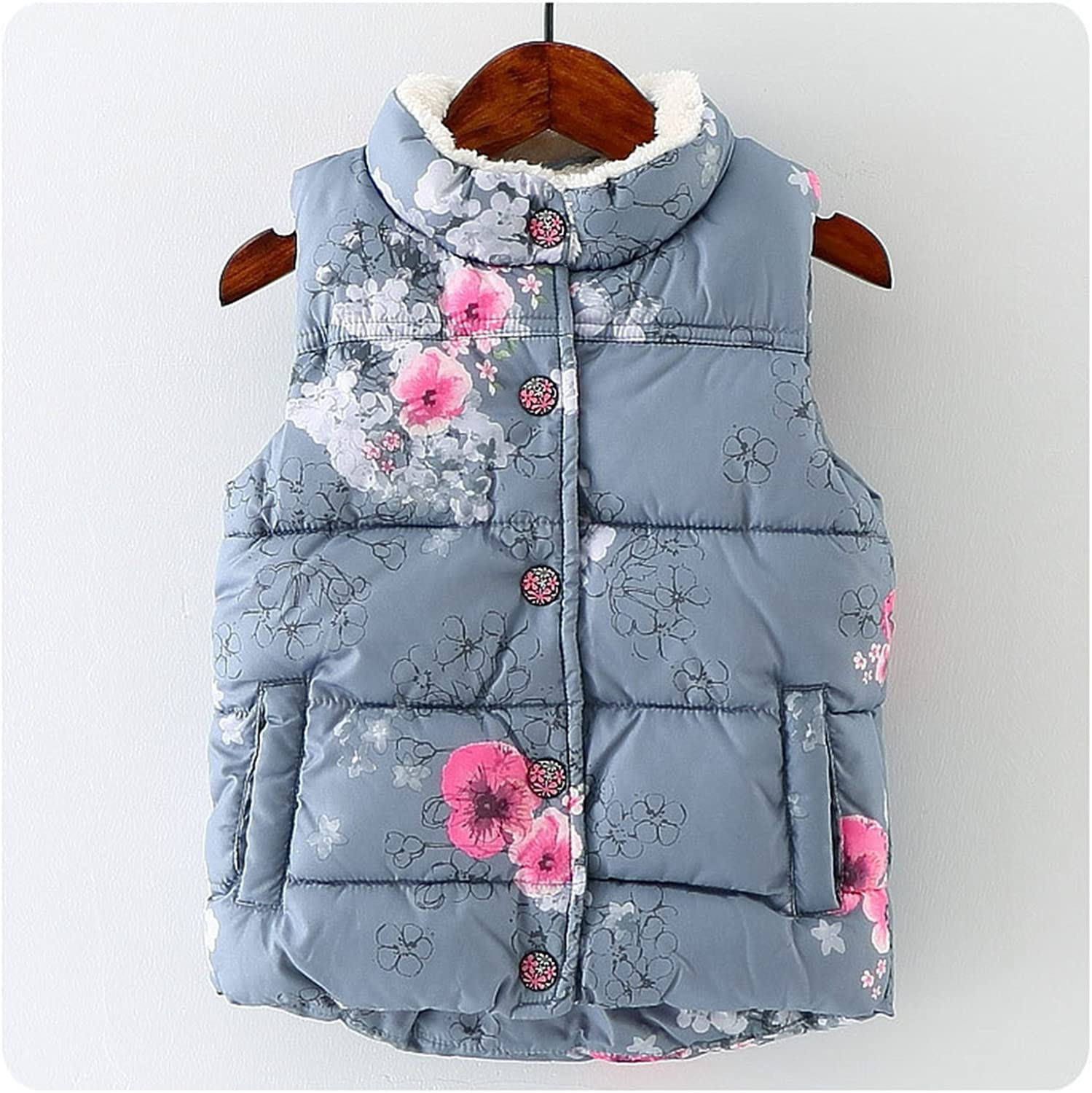Mofgr Winter Baby Girls Waistcoat Thick With Fleece Kids Warm Vests Floral Print Toddler Childrens Vest