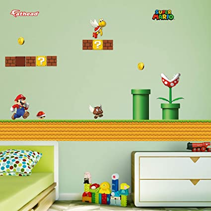 Fathead Peel and Stick Decals Nintendo Super Mario Environment RealBig Collection Wall Decal  sc 1 st  Amazon.com : nintendo wall decal - www.pureclipart.com