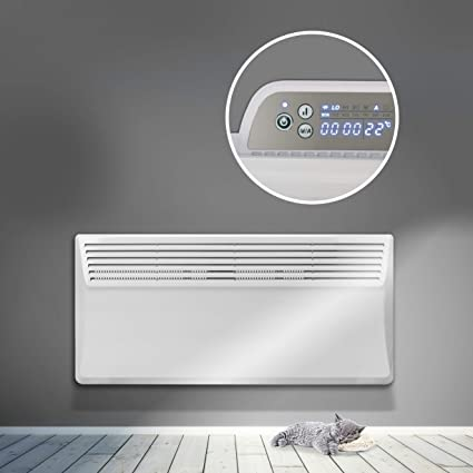 RDn Devola 2000W Electric Panel Heater 24 Hour 7 Day Digital Timer With Thermostat Lot 20 Compliant Slimline 2Kw Electric Radiator Wall Mounted Or Floor Standing Low Energy Electric Heater-DVS2000W