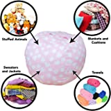 Stuffed Animal Storage Bean Bag Chair - Premium Seat - Easy Solution for Extra Toys / Blankets / Covers / Towels / Clothes (Pink)