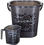 Aarohi13 Nayasa Plastic Bathroom Bucket and Mug 25 L, Grey - Set of 2 Pieces