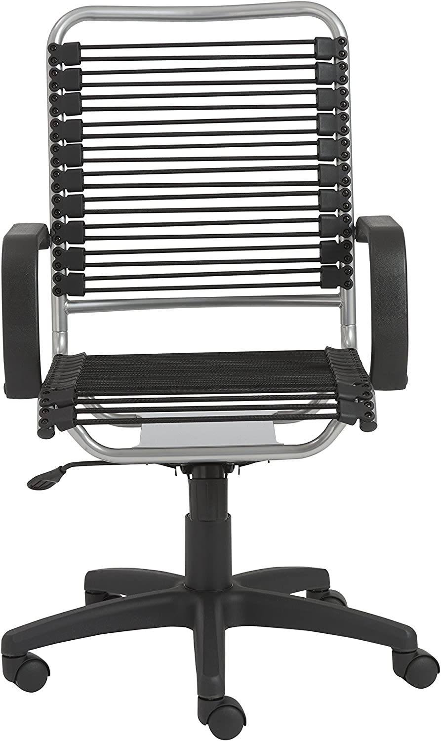 Eurø Style 02549 Bradley Bungie Office Chair, L: 27 W: 23 H: 37.5-43 SH: 17.5-23, Black/Aluminum