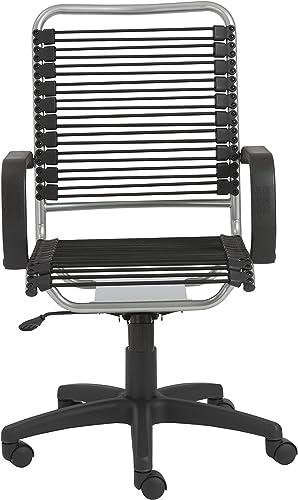 Eur Style Bradley Bungie office chair, L 27 W 23 H 37.5-43 SH 17.5-23, Black Aluminum