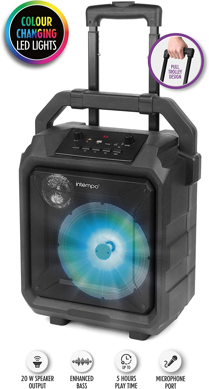 Altavoz Intempo® EE4551STKEU Tempo Tailgate con puerto para micrófono y luces LED, 20 W, negro