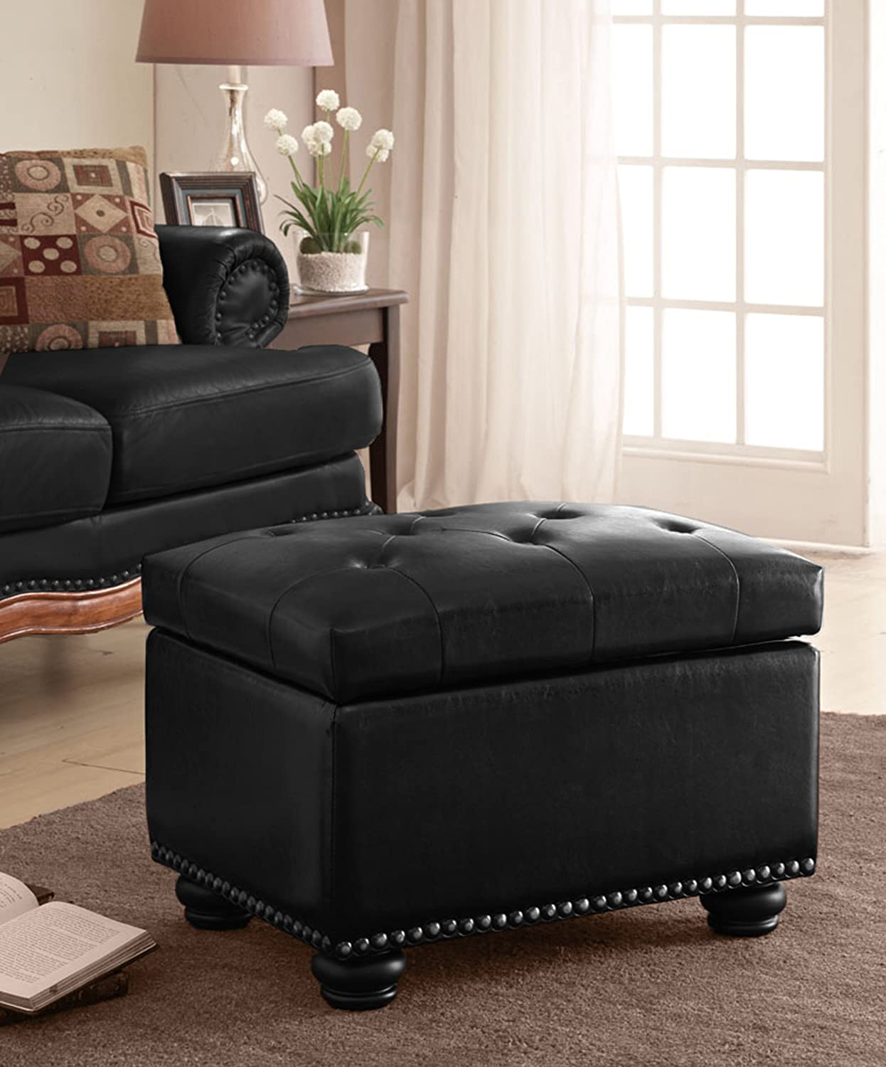 Amazon.com: Convenience Concepts Designs4Comfort Storage Ottoman, Black:  Kitchen U0026 Dining