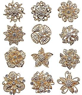 TOOKY 12pcs Wholesale Lot Mini Crystal Flower Star Brooch Pin Brooches jbn1bQVz