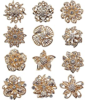 TOOKY 12pcs Wholesale Lot Mini Crystal Flower Star Brooch Pin Brooches