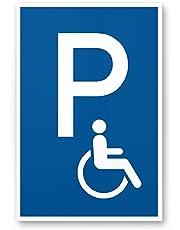 Parking handicapés enseigne (Bleu, 20x 30cm), plaque signalétique parking handicapés de parking, Réservé–pour Fauteuil Roulant, Parking freihalten pour le corps handicapés