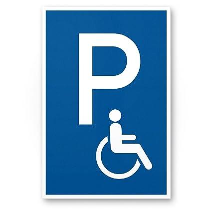 Aparcamiento minusválidos Cartel (Azul, 20 x 30 cm), Nota Cartel discapacitados de