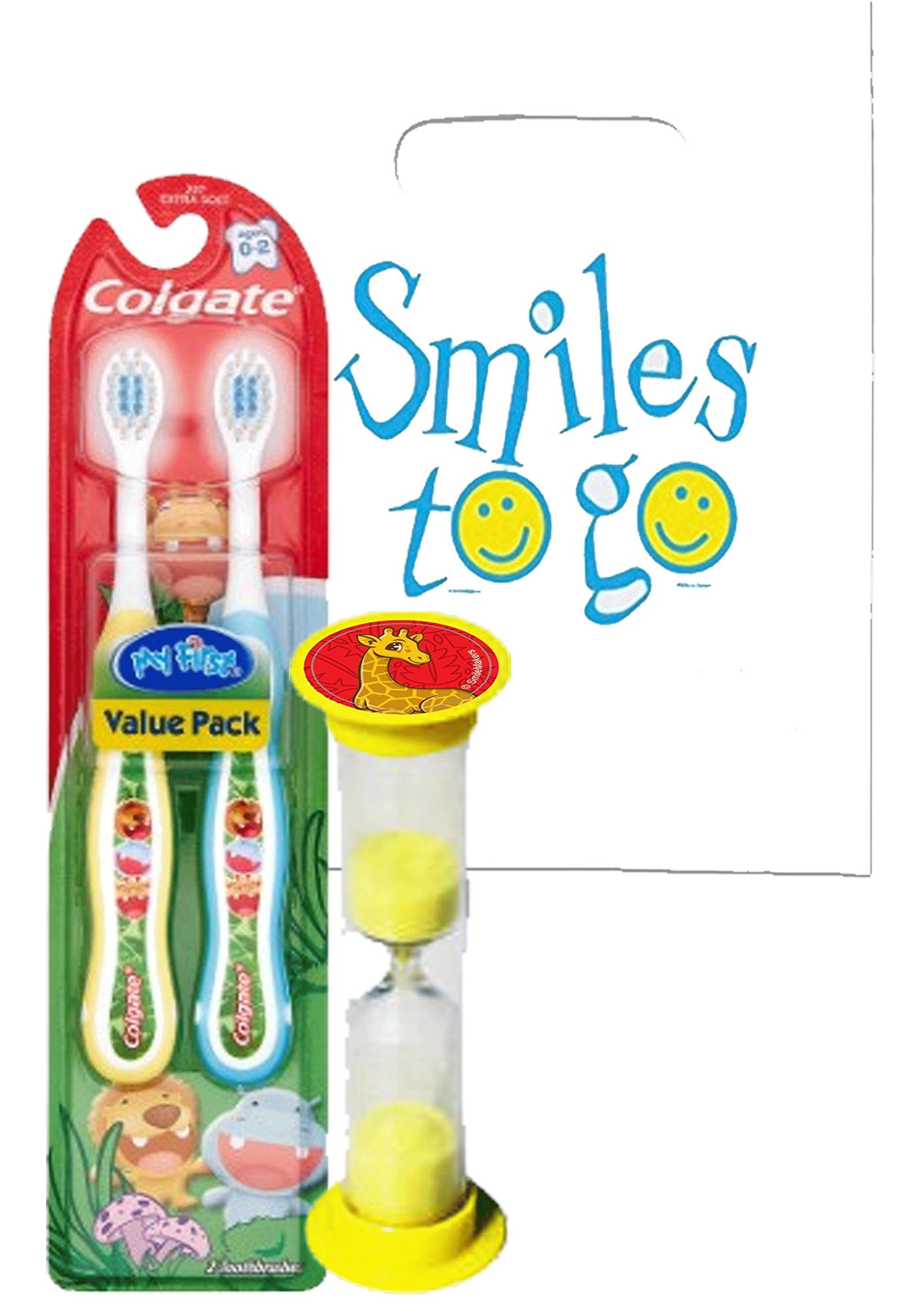 Wild Animal Safari 3pc Bright Smile Toddler Trainning Set! 2pk Soft Manual Toothbrush & Brushing Timer! Plus Dental Gift…