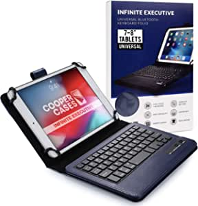 Cooper Infinite Executive Keyboard Case for 7-8 inch Tablets | Universal Fit | 2-in-1 Bluetooth Wireless Keyboard & Leather Folio Cover (Blue)
