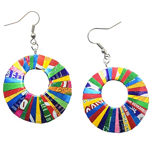 Earrings in circle shape made of soda can PRIME Handmade from recycled upcycled material eco friendly art jewelry design unique uncommon gift idea for cool vegan mother wife girlfriend woman ladies