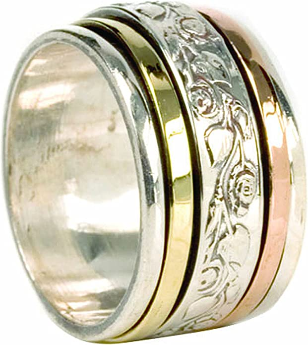 JewelsExporter Sterling Silver Ring.Spinner Ring Meditation Ring Spin-Pray Ring6us