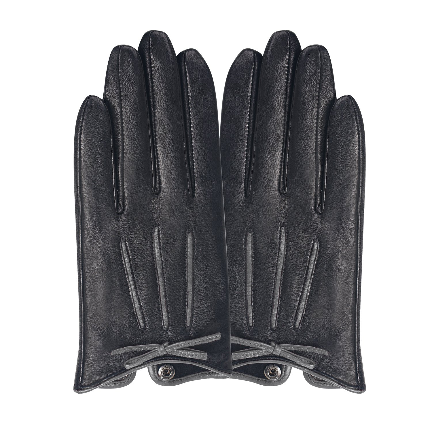 GSG Womens Feminine Colorblock Bow Touchscreen Driving Gloves Ladies Genuine Leather Warm Outdoor Gloves Winter Nice Gifts Black 7 by GSG (Image #3)