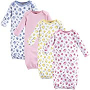 Luvable Friends Unisex Baby Cotton Gowns, Floral 4-Pack, 0-6 Months