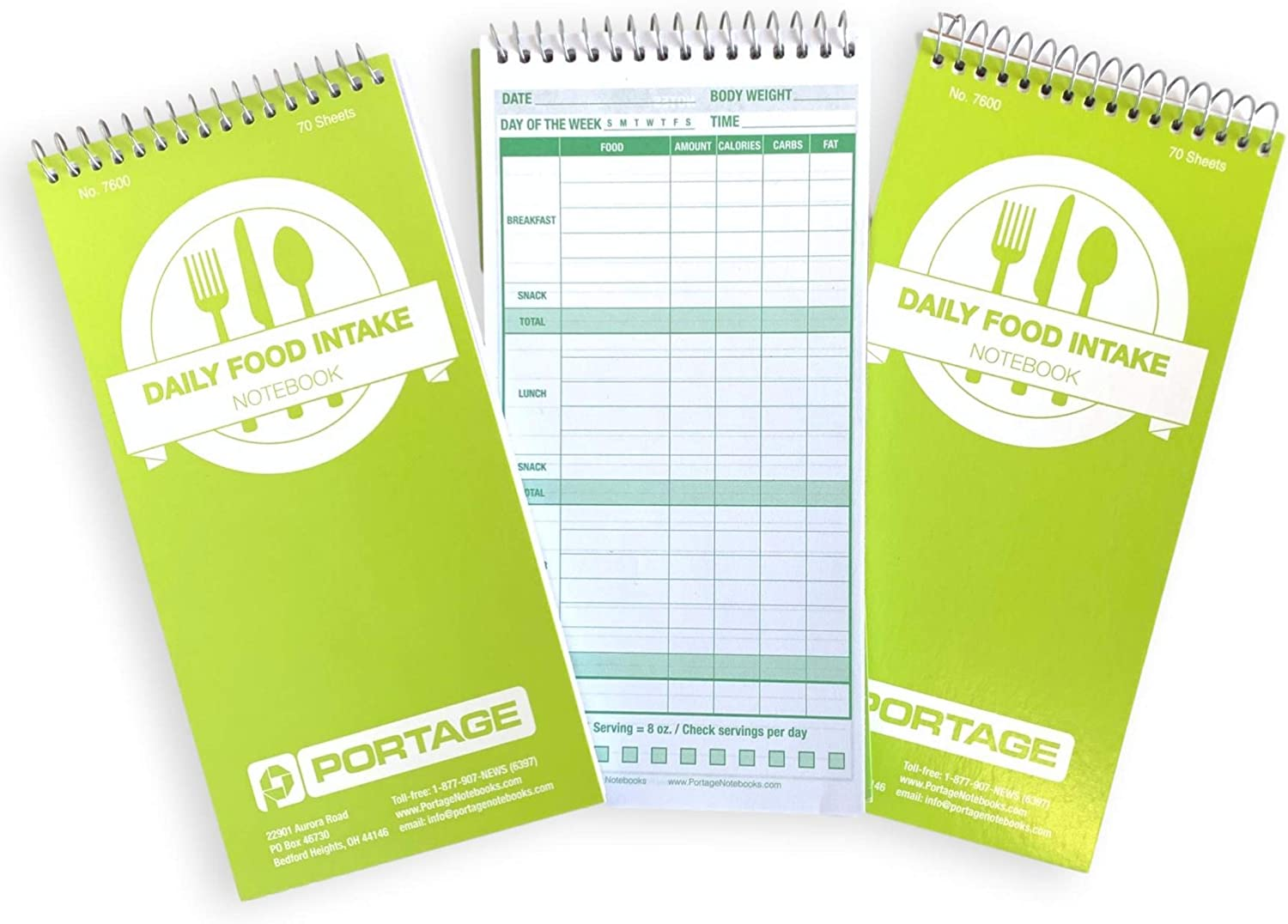 """Daily Food Intake Journal Notebook – 4"""" x 8"""" Meal Tracker/Food Diary to Log Calories, Carbs, Fat Perfect for KETO – 140 Pages (3 Pack) : Office Products"""