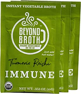 product image for BEYOND BROTH Organic Vegan Vegetable Instant Sipping Broth with Turmeric, Reishi, and Cumin for Immune Support | Keto, Gluten Free, Whole 30, and non GMO | (Immunity) (3 Pack)