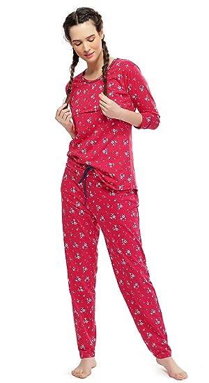 04b2e9f99c376 ZEYO Women's Cotton Red Feeding Night Suit,Floral Print Nursing ...