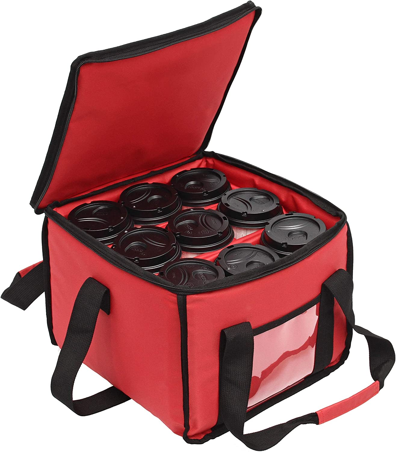 Drink Carrier and Food Delivery Bag with Handle and Shoulder Strap - Multi Cup Holder Bag Holds up to 9 Coffee Cups - Insulated Portable Caddy Keeps Drinks Cold or Hot