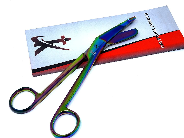 Heavy Duty Lister Bandage Trauma Shears Scissors Premium Quality (KKT) (Multi Rainbow Color 7.25)