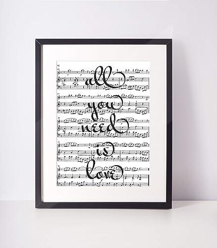 The Beatles All You Need Is Love Lyrics Print