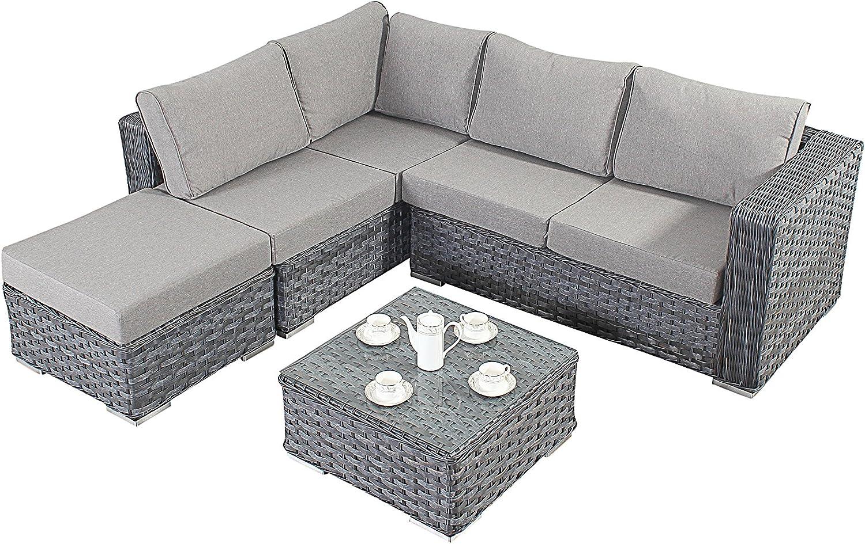 Puerto Royal Platinum sofá en Esquina tamaño pequeño Juego de, Gris, con Mesa de café y el reposapiés: Amazon.es: Jardín