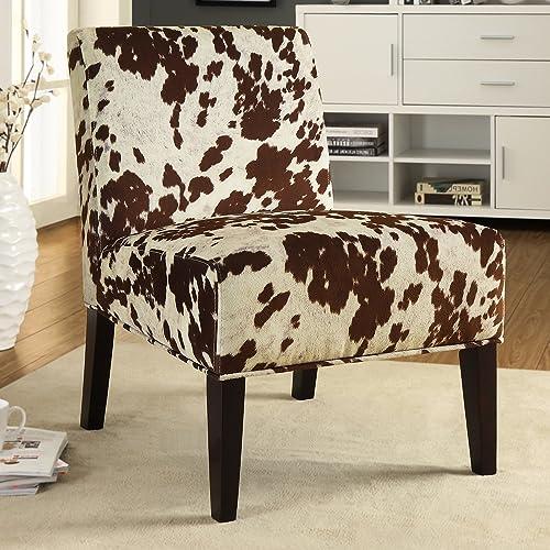 Metro Shop INSPIRE Q Peterson Cowhide Fabric Slipper Accent Chair-D cor Cowhide Fabric Chair