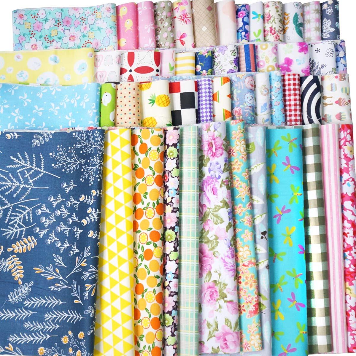 Misscrafts Telas grandes de algodón cuadradas para patchwork, costura y álbumes de recortes 50pc 30*30 (New-50pcs)