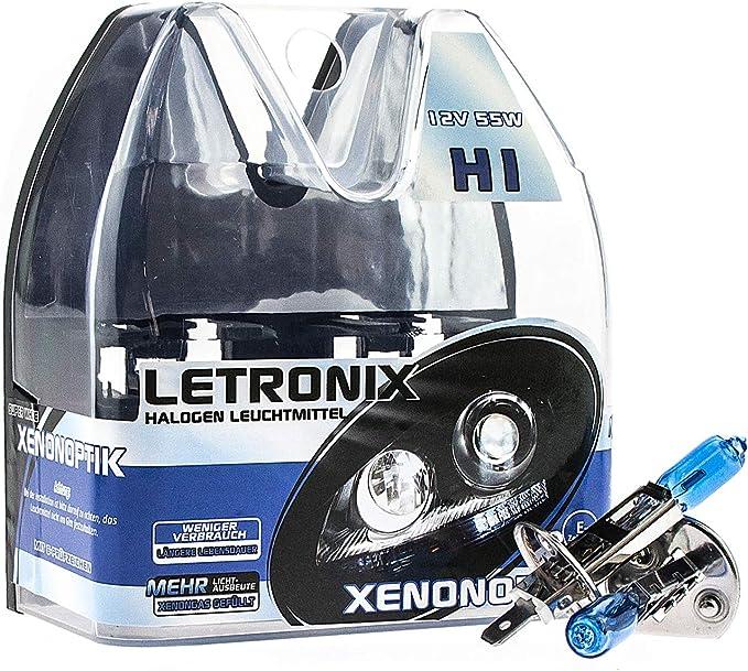 Letronix Halogen Auto Lampen H1 12v 8500k Kalt Weiß Xenon Optik Gas Ultra White Look Birnen Lampe Abblendlicht Nebelscheinwerfer Fernlicht Kurvenlicht Zulassung E Prüfzeichen Led Optik H1 55w Auto