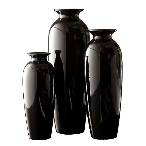 Hosley Set of 3 Black Ceramic Vases in Gift Box. Ideal Gift for Wedding or
