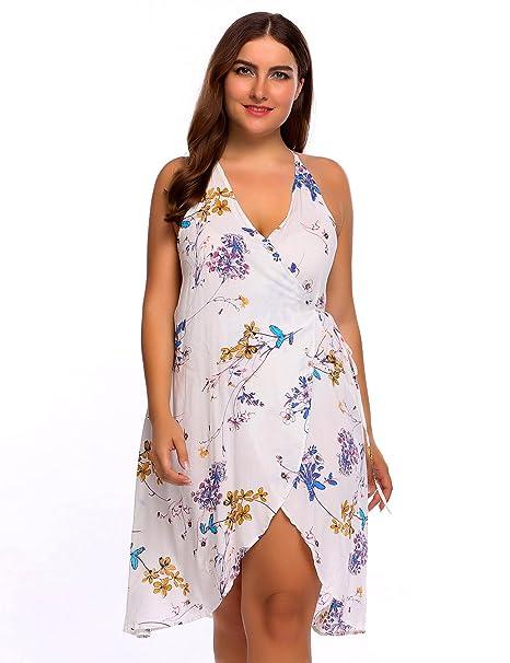 d53798869c52 Zeagoo Women s Plus Size Vintage Deep V Neck Strappy Dress Sexy Front Slit Floral  Dress