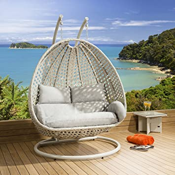 luxury outdoor 2 person garden pod hanging chair swing stone grey