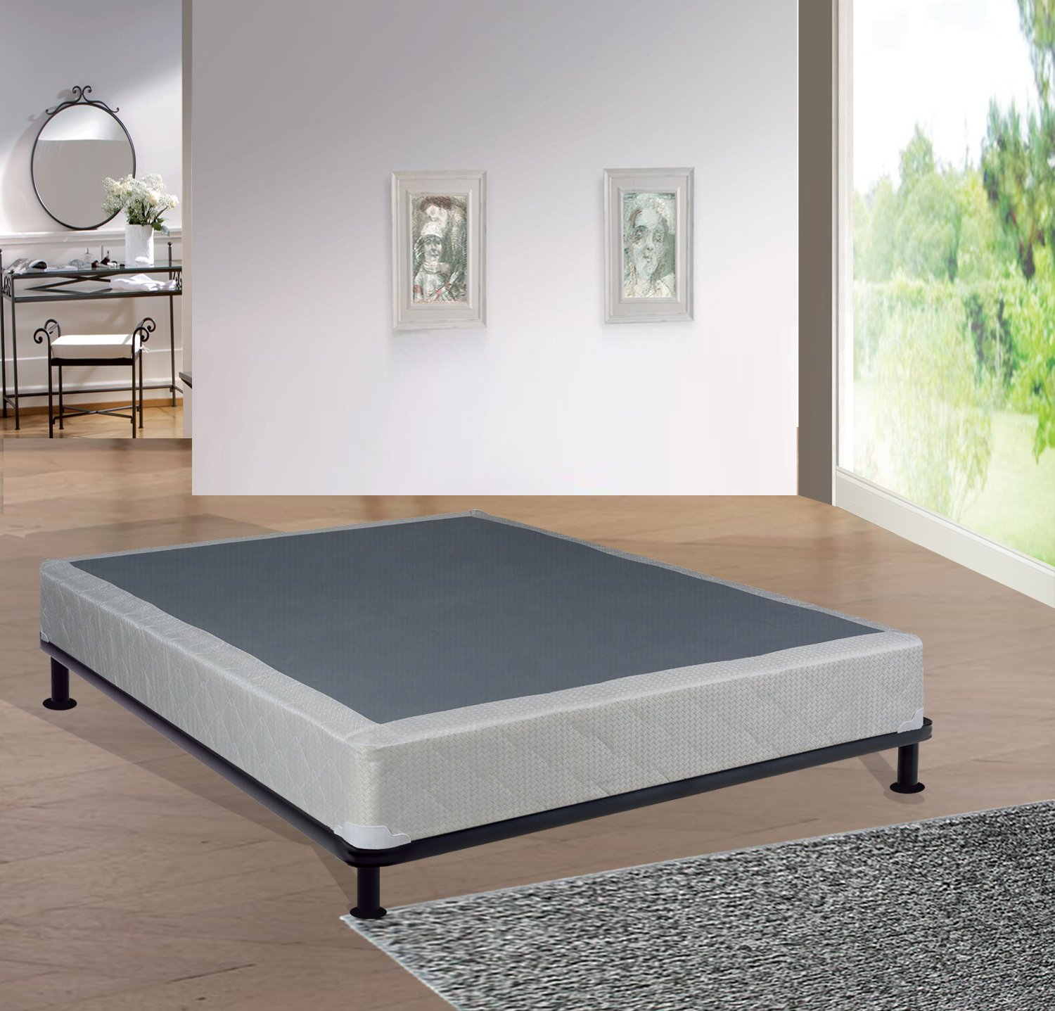 Greaton 8-Inch Fully Assembly Box Spring/Foundation For Mattress, Good For Back Queen Size White & LT Brown